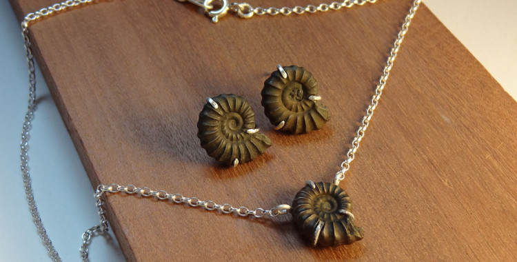 Pyrite fossil set - earrings, necklace