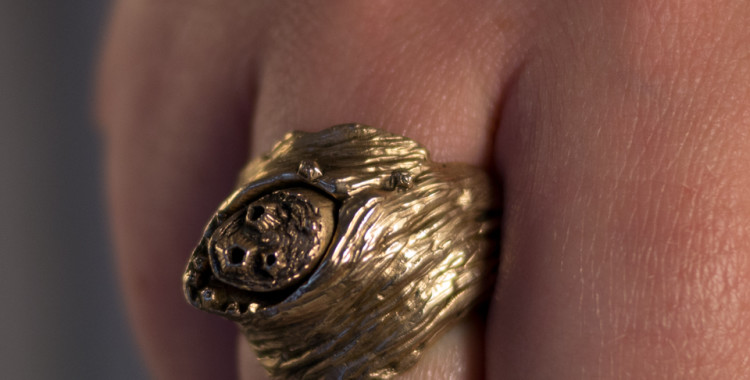 Driftwood and barnacle scent ring